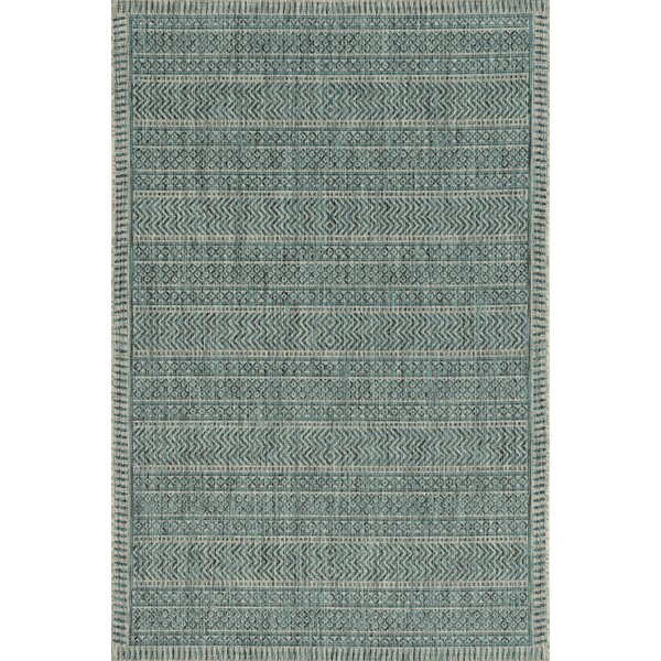 Malchow Teal Indoor/Outdoor Area Rug by Bungalow Rose