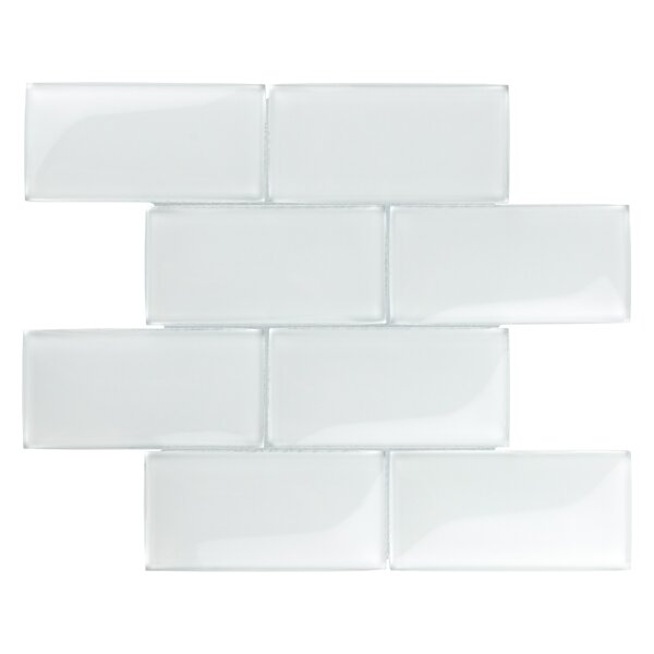 Nieve 2.88 x 5.88 Glass Mosaic Tile in Ice White by EliteTile