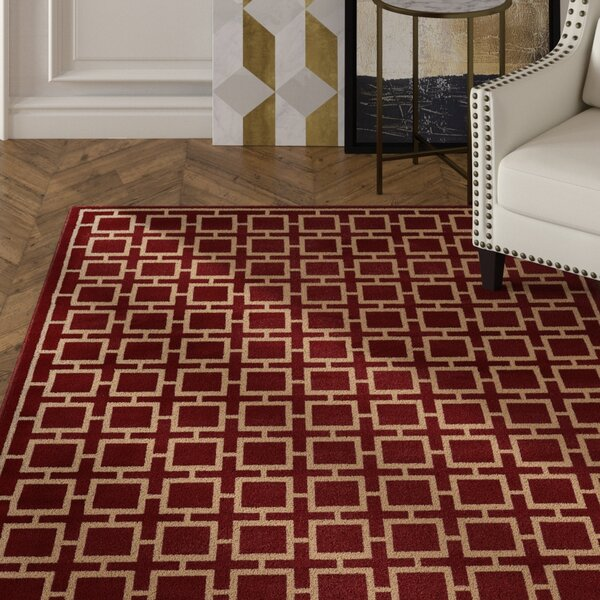 Reiter Red/Beige Area Rug by Mercer41