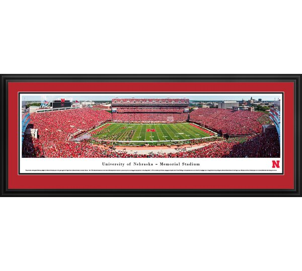 NCAA Nebraska Cornhuskers Football 50 Yard Line Framed Photographic Print by Blakeway Worldwide Panoramas, Inc