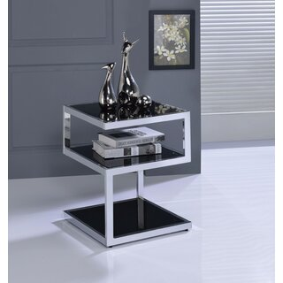 Crowley Frosted Glass and Champagne End Table by Orren Ellis