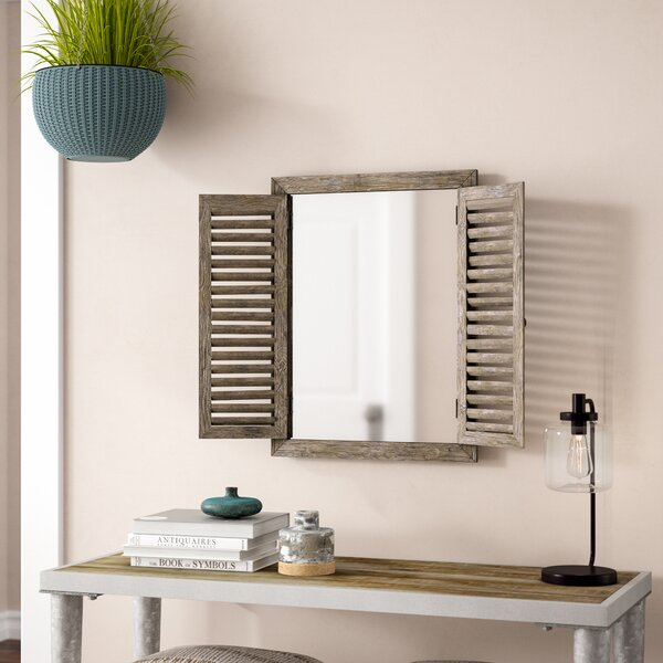 Gracie Oaks Candee Rustic Shuttered Mirror With Wooden Frame & Reviews by Gracie Oaks