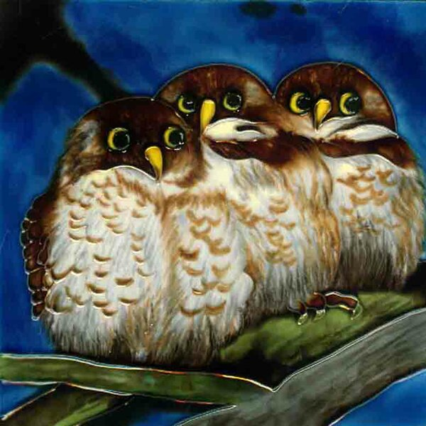 3 Owls with Blue Background Tile Wall Decor by Continental Art Center