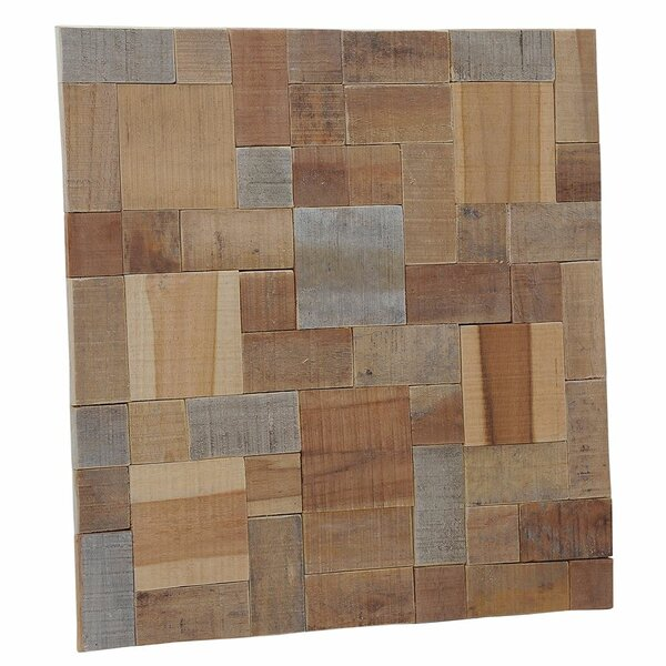 Terra Kayu Large 8.27 x 8.27 Teakwood Mosaic Tile in Brown and Gray by Ecotessa