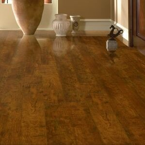 Premium Lustre 5 x 48 x 12mm Cherry Laminate Flooring in Candied by Armstrong Flooring