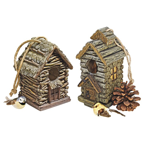 Backwoods 7 in x 6 in x 5.5 in Birdhouse (Set of 2) by Design Toscano