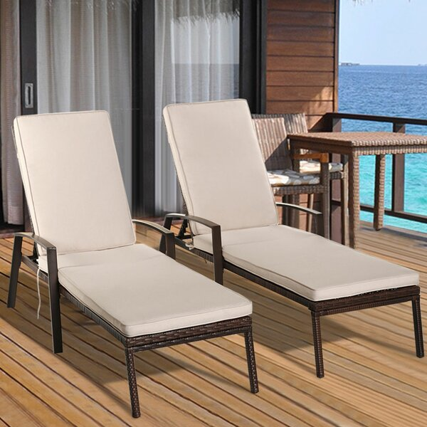 Vargas Patio Rattan Chaise Lounge with Cushion (Set of 2)