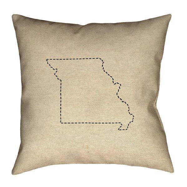 Austrinus Missouri Map Dash Outline Outdoor Throw Pillow