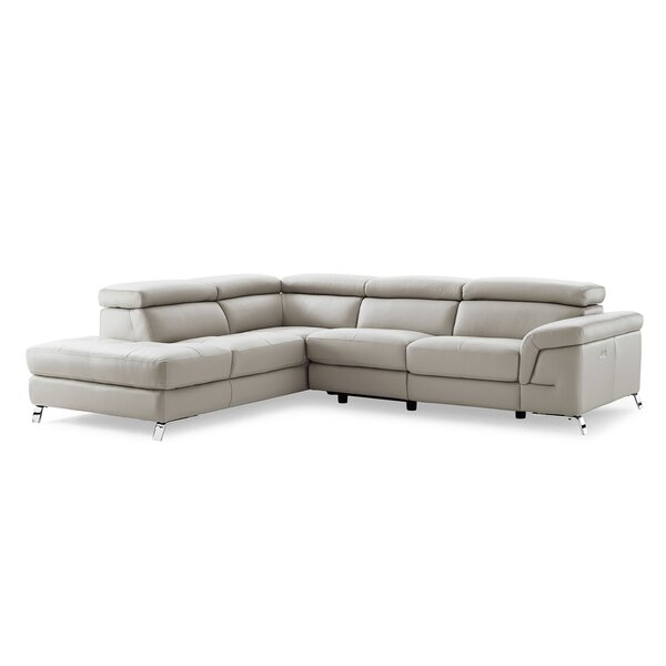 Oakfield Leather Left Hand Facing Reclining Sectional By Wade Logan