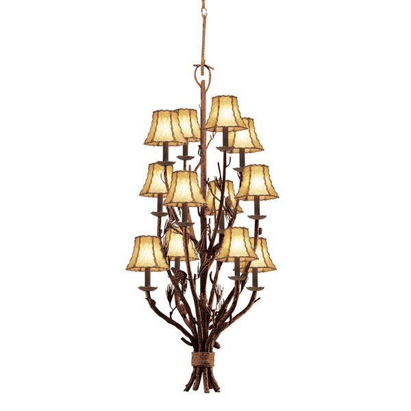 Barkhamsted 12-Light Shaded Tiered Chandelier by Millwood Pines Millwood Pines