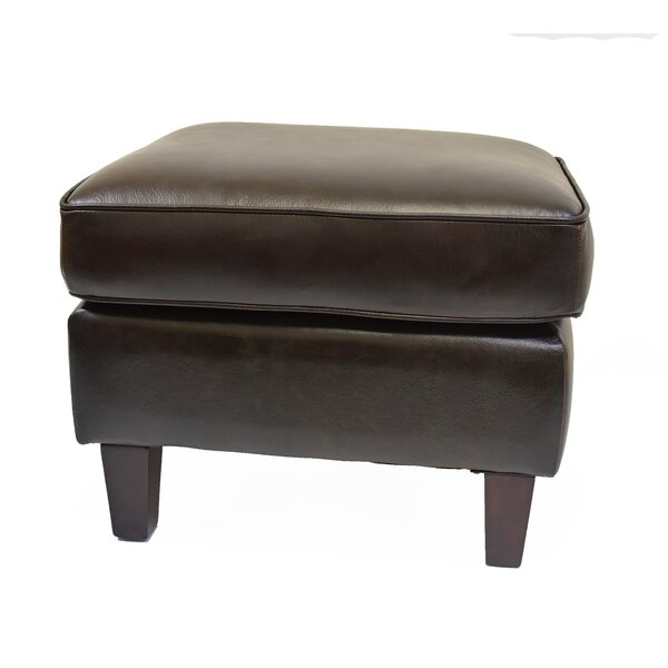 Hahira Leather Ottoman by Three Posts