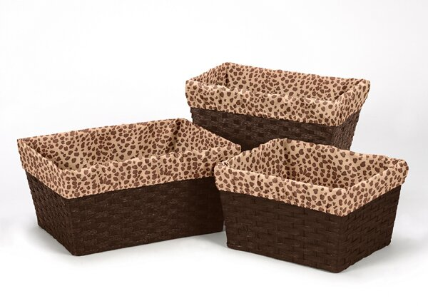 Cheetah Pink 3 Piece Basket Liner Set by Sweet Jojo Designs