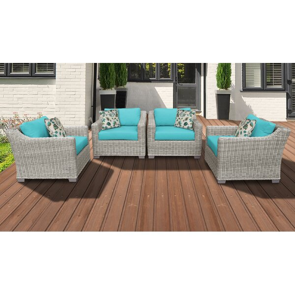 Claire Patio Chair with Cushions (Set of 4) by Rosecliff Heights Rosecliff Heights