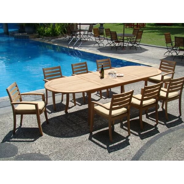 Orben Luxurious 9 Piece Teak Dining Set by Rosecliff Heights