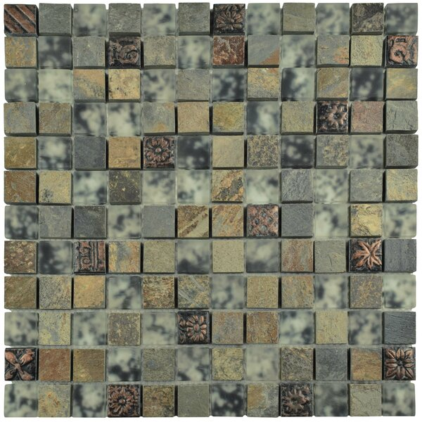 Abbey 0.88 x 0.88 Glass/Natural Stone/Metal Mosaic Tile in Brown by EliteTile