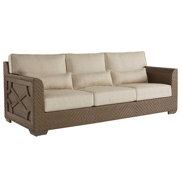 Astrid Wicker Patio Sofa with Cushions by Gracie Oaks