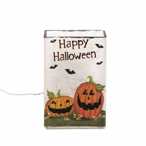 Happy Halloween Frosted Pumpkin Rectangle Glass Luminary by Glitzhome