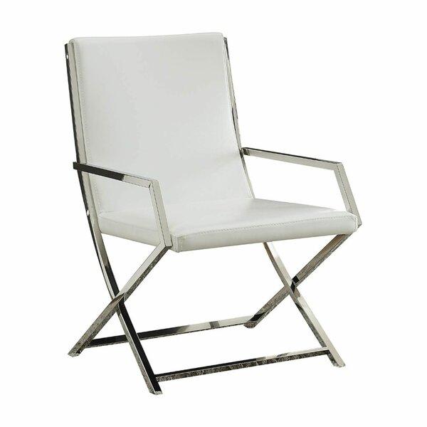 Singh High Backrest Polyurethane Upholstered Metal Armchair by Mercer41 Mercer41