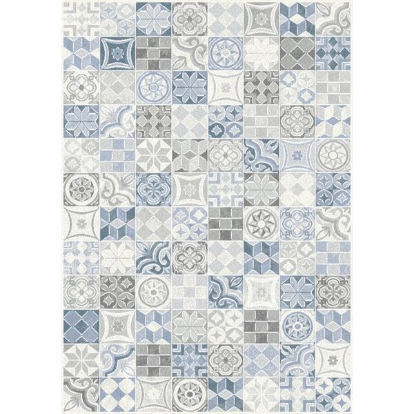 Montgomery Quilted Symbols Blue/Cream Area Rug by Red Barrel Studio