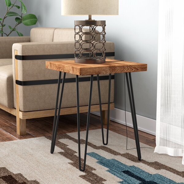 Lerner Old Elm Wood End Table by Union Rustic