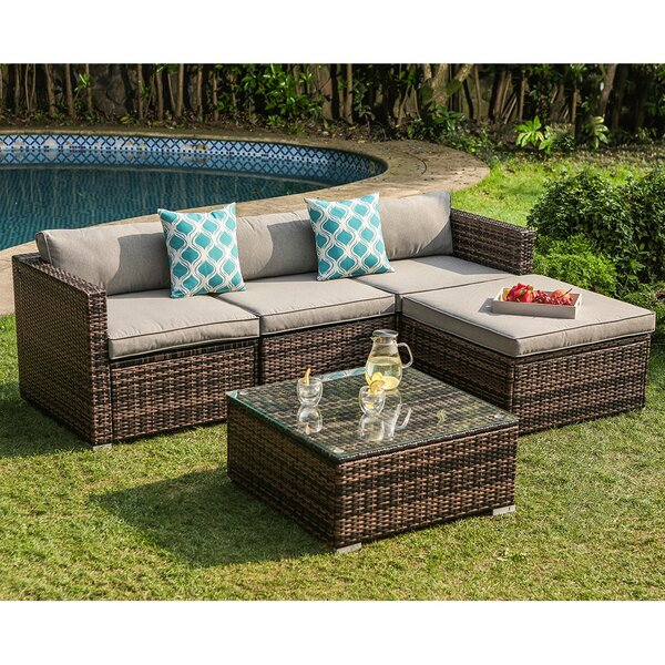 Elba 5 Piece Rattan Sectional Seating Group with Cushions by Bay Isle Home