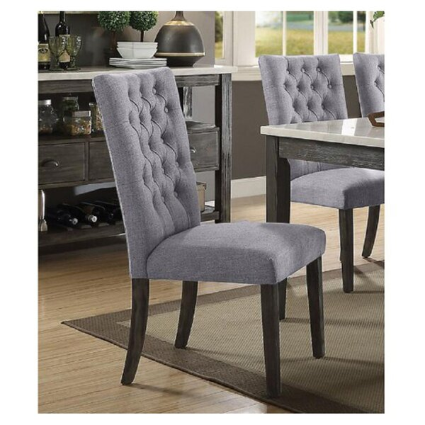 Forestdale Tufted Linen Parsons Chair in Gray (Set of 2) by Red Barrel Studio Red Barrel Studio