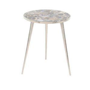 Stogner Modern Aluminum and Marbled Agate Round End Table by Latitude Run