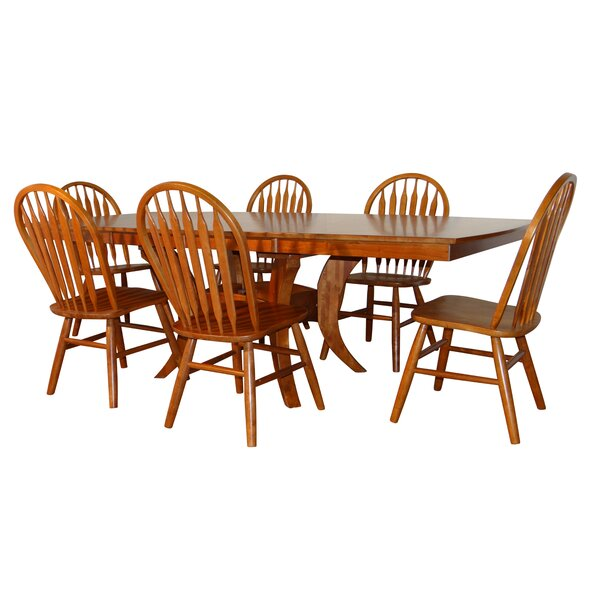 Newberry Shape Top 7 Piece Extendable Solid Wood Dining Set by Canora Grey