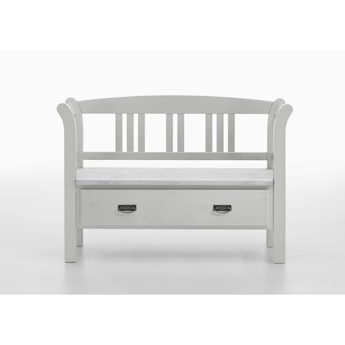 Wooden Storage Bench August Grove Colour: White