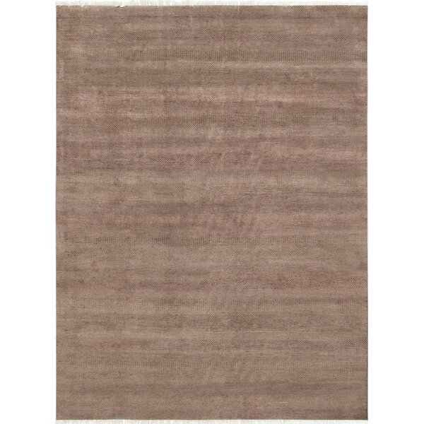 Pasargad Hand-Knotted Silk and Wool Brown Area Rug by Pasargad