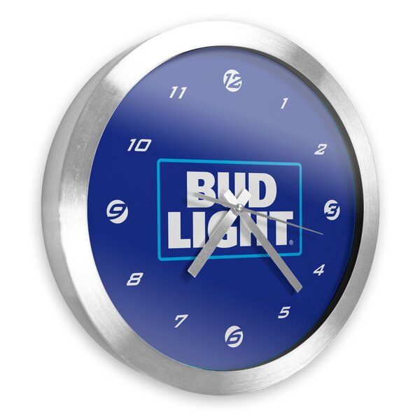 Bud Light Brushed Aluminum 12 Wall Clock by Trademark Global