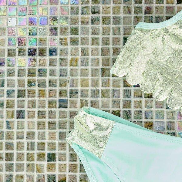 Breeze 0.62 x 0.62 Glass Mosaic Tile in Blue/Yellow/Green by Splashback Tile