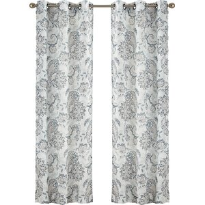 Lind Paisley Sheer Grommet Single Curtain Panel