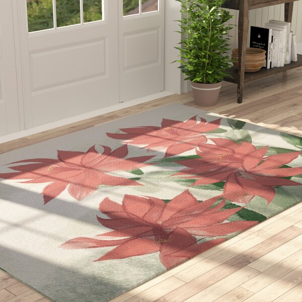 Amanda Christmas Cactus Floral Print Coral/Green Indoor/Outdoor Area Rug by August Grove