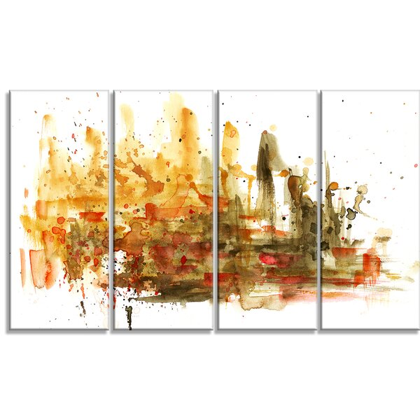 Abstract Composition 4 Piece Painting Print on Wrapped Canvas Set by Design Art