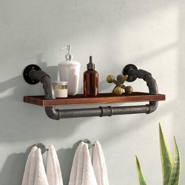Duran Industrial Walnut Wood Floating Wall Shelf by Trent Austin Design