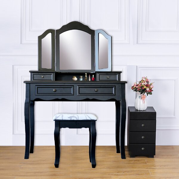 Hilburn Wood 4 Drawer Vanity Set with 3 Folding Mirror by Alcott Hill Alcott Hill