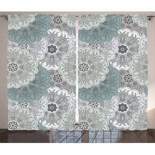 Devan Gray Arabesque Tile Mandala With Oriental Touch Eastern Style Indian Ethnic Spiritual Motif Graphic Print Text Semi Sheer Rod Pocket Curtain Panels