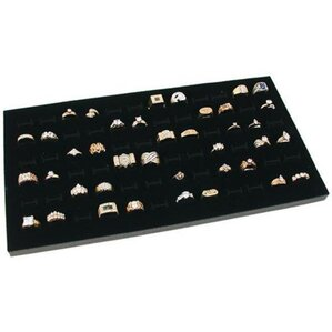 Glass Top 72 Slot Ring Tray Jewelry Display Case by Rebrilliant