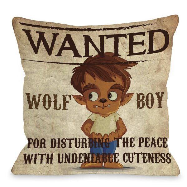 Wanted Wolf Boy Throw Pillow by One Bella Casa