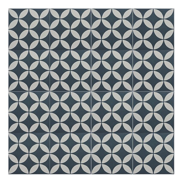 Amlo 8 x 8 Handmade Cement Tile in Navy Blue/White by Moroccan Mosaic