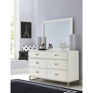 Jereme 6 Drawer Double Dresser with Mirror