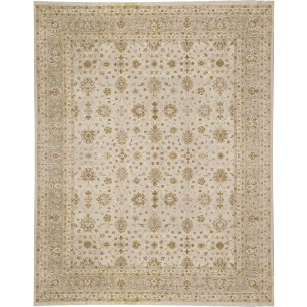 One-of-a-Kind Hand-Knotted Beige 11'11 x 14'8 Wool Area Rug