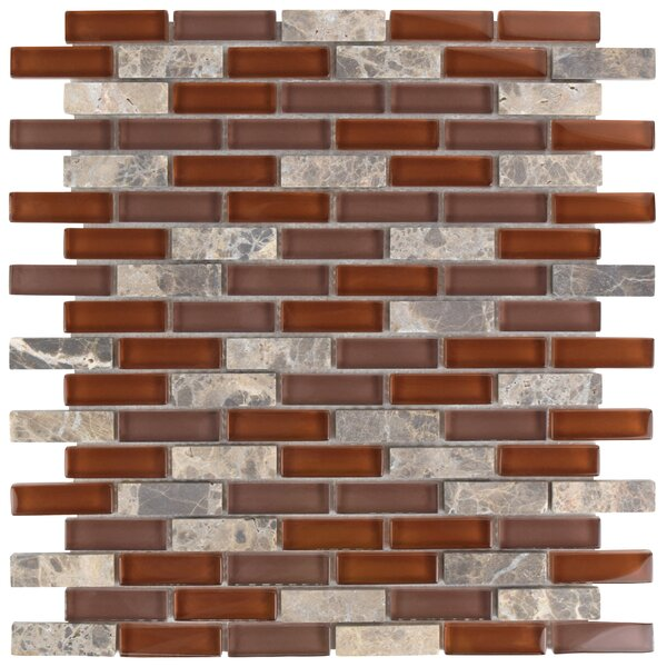 Sierra 0.58 x 1.88 Glass and Natural Stone Mosaic Tile in Bordeaux by EliteTile