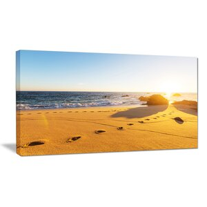 Large Footprints on Beach Sand Modern Beach Photographic Print on Wrapped Canvas by Design Art