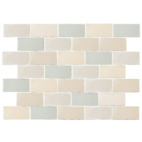 Antiqua 3 x 6 Ceramic Subway Tile in Blue/Cream by EliteTile