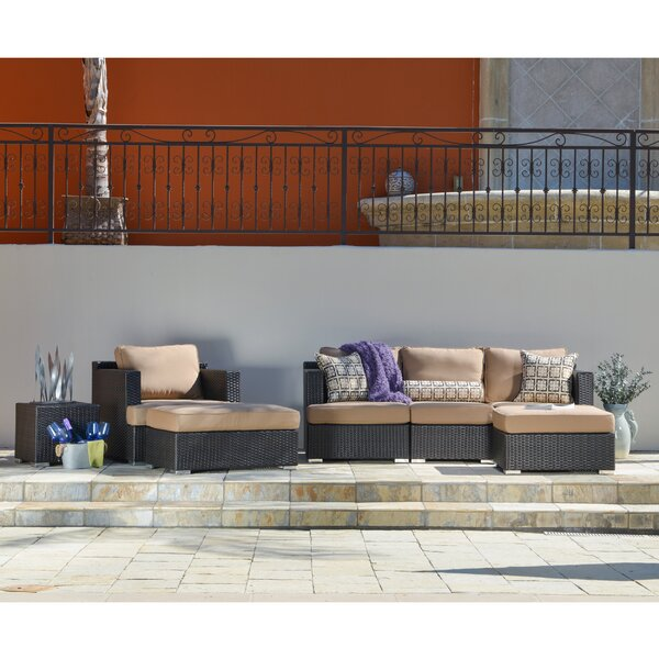 Hallwood 7 Piece Rattan Sunbrella Sectional Seating Group with Cushions by Ivy Bronx