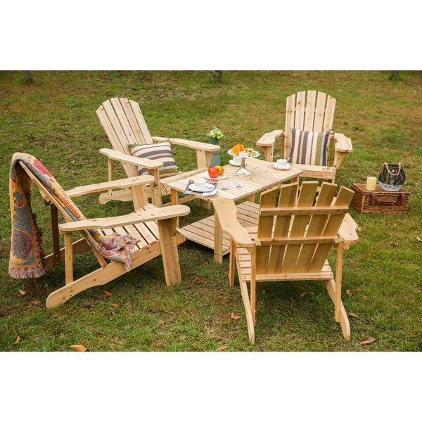 Braham Solid Wood Adirondack Chair with Table by Loon Peak Loon Peak