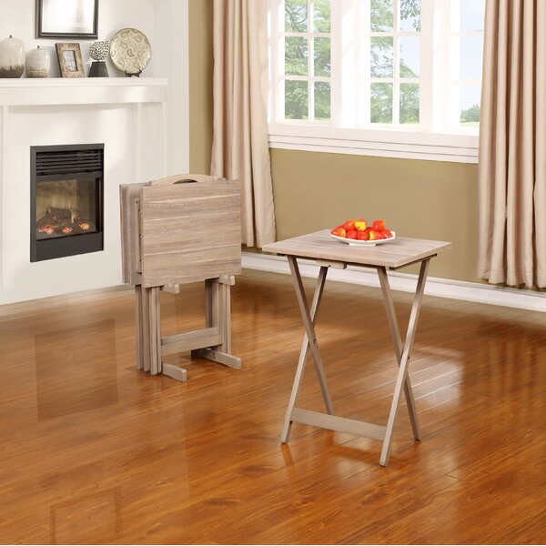 Ingleside 5 Piece Acacia Tray Table Set by Beachcrest Home