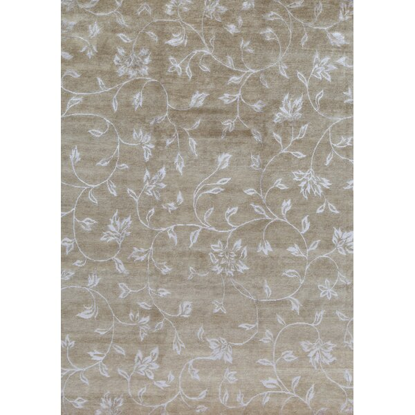 Himalayan Floral Hand-Knotted Beige Area Rug